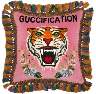 Gucci Guccification Tiger-embroidered Velvet Cushion - Pink Multi