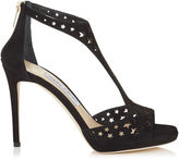 Jimmy Choo LANA 100 Black Suede with Perforated Stars T-Bar Sandals