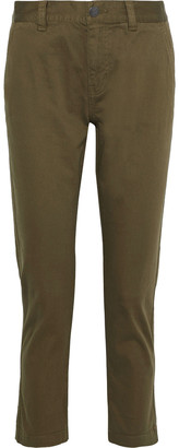 Current/Elliott The Confidant Cropped Stretch-cotton Straight-leg Pants