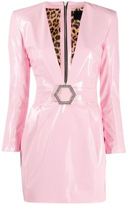 Philipp Plein Deep V-Neck Fitted Dress