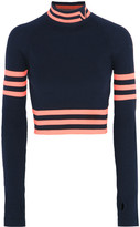 Versace Cropped Striped Stretch-wool Sweater - Navy
