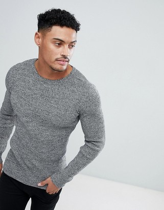 Asos Design DESIGN muscle fit ribbed sweater in black & white twist-Gray