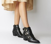 Office Album Western Buckle Boots Black Croc Leather Gold Hardware