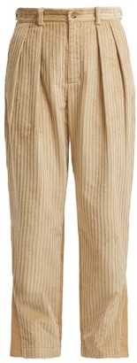 Koché Panelled Cotton Corduroy And Twill Trousers - Womens - Beige