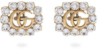 Gucci Gg Crystal-embellished Clip Earrings - Womens - Crystal