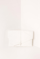 Missguided Faux Leather Thread Through Clutch Bag White