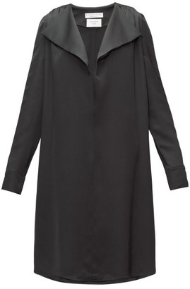 Bottega Veneta Belted Wide-lapel Silk-satin Dress - Black
