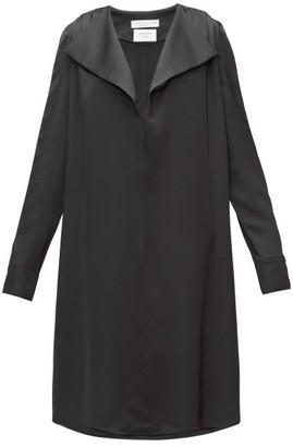 Bottega Veneta Belted Wide-lapel Silk-satin Dress - Womens - Black