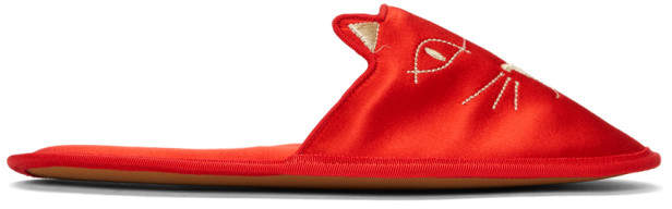 Charlotte Olympia Red House Cats Slippers