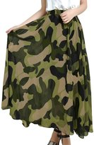 uxcell Lady Elastic Waist Camouflage Prints Lining Maxi Skirt