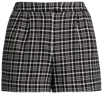 L'Agence Emerie Pleated Plaid Shorts