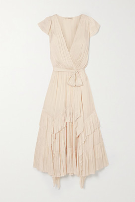 Ulla Johnson Abella Asymmetric Ruffled Crinkled-satin Dress - Cream