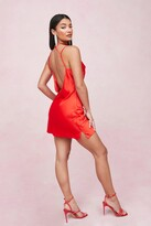 Thumbnail for your product : Nasty Gal Womens Choker Cowl Neck Satin Slip Mini Dress - Red - 10