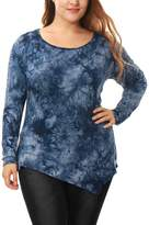 Allegra K Women Plus Size Tie-Dye Handkerchief Hem Tunic Top
