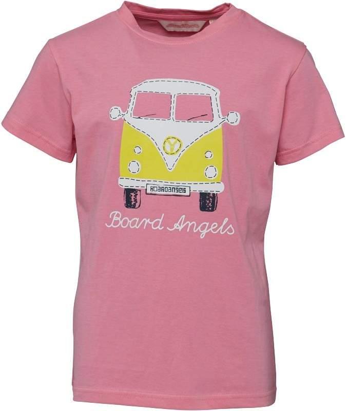 Board Angels Girls Front/Back Camper Van T-Shirt Pink/Yellow