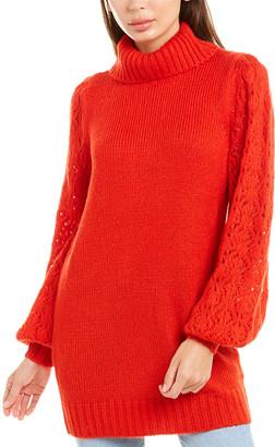 For Love & Lemons Francois Pointelle Turtleneck Sweaterdress