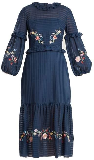 Vilshenko Adeline Floral Embroidered Dress - Womens - Navy Multi