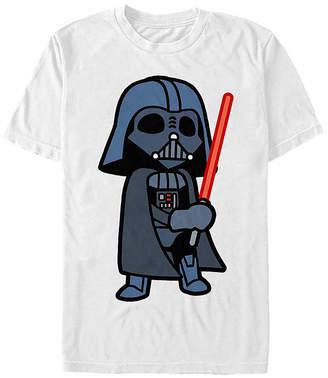 Fifth Sun Slim Cute Darth Vader Lightsaber Cartoon Mens Crew Neck Short Sleeve Star Wars Graphic T-Shirt