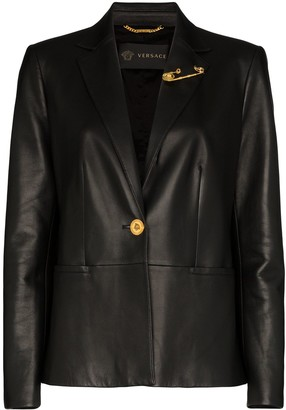 Versace Safety Pin-Embellished Leather Blazer