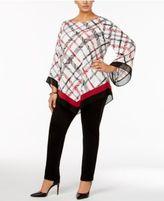 Alfani Plus Size Angel-Sleeve V-Hem Top, Created for Macy's