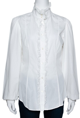 Dolce & Gabbana White Cotton Ruffled Lace Trim Shirt L