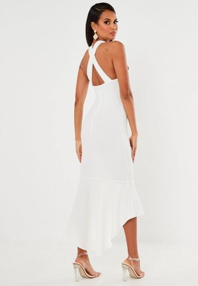 Missguided White Halterneck Frill Hem Midi Dress