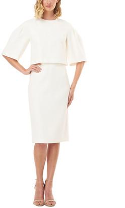 Kay Unger Elbow-Sleeve Harper Stretch Crepe Midi Dress