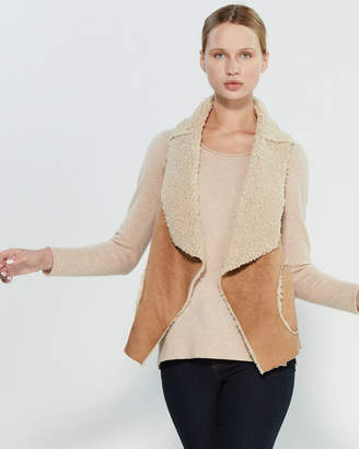BB Dakota Faux Fur-Trim Drape Front Sherpa Vest
