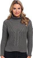 525 America Women's Hi Low Mock Cable Sweater