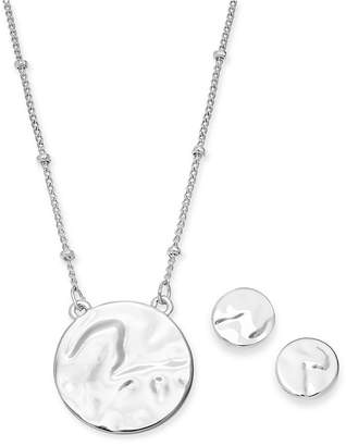 Alfani Silver-Tone 2-Pc. Set Hammered Circle Pendant Necklace & Matching Stud Earrings