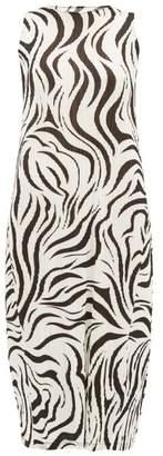 Pleats Please Issey Miyake Aroma Zebra-print Pleated Dress - Womens - White Black