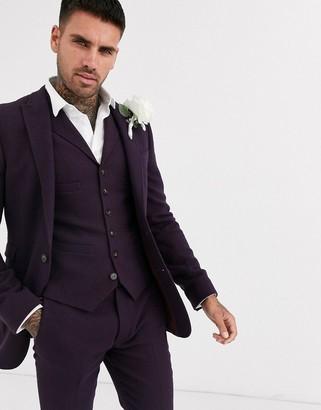 Asos DESIGN wedding super skinny suit jacket in wool mix twill in burgundy