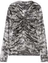 Isabel Marant Diego Ruched Floral-print Stretch Silk-blend Top - Silver