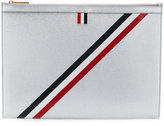 Thom Browne Medium Zipped Document (35X25CM) With Red, White And Blue Diagonal Stripe In Pebble Grain & Calf Leather