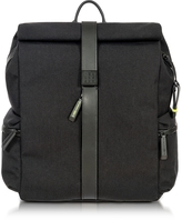 Bric's Black Nylon and Leather Rolltop Backpack