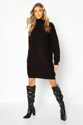 boohoo Turtleneck Fisherman Sweater Dress