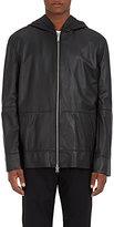 Public School Men's Leather Zip-Front Hoodie-BLACK