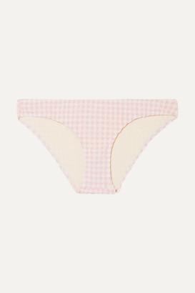 Solid & Striped The Elle Gingham Seersucker Bikini Briefs - Baby pink