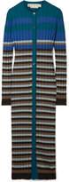 Marni Striped Ribbed Wool Cardigan - Blue