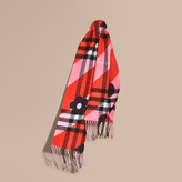 Burberry Check Cashmere Scarf with Stripe and Floral Print