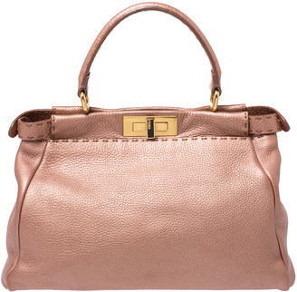 Fendi Metallic Pink Seleria Leather Medium Made To Order Peekaboo Top Handle Bag