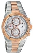 Titan Men's 9308KM01 Contemporary - Chronograph - White Dial Silver Metal Strap Watch
