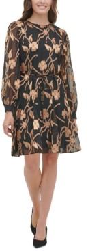 Tommy Hilfiger Chiffon Burnout Trapeze Dress