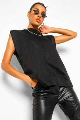 boohoo Sleeveless Shoulder Pad Sweatshirter