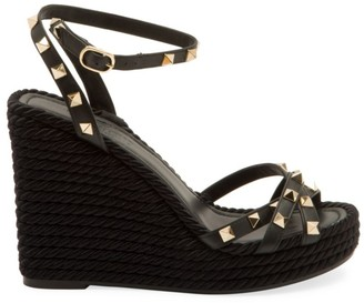 Valentino Rockstud Leather Espadrille Wedges