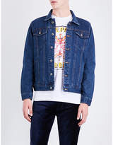 The Beatles Mens Blue Round Exclusive Sgt. Pepper Embroidered Denim Jacket