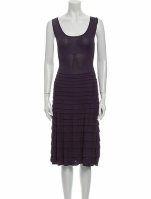 Valentino Scoop Neck Midi Length Dress Purple