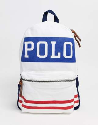 Polo Ralph Lauren sports logo back pack in white