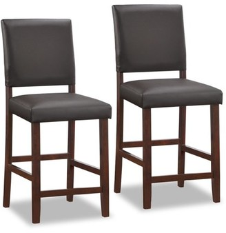 Generic Leick Home Wood Upholstered Back Counter Height Stool with Ebony Faux Leather Seat, Set of 2