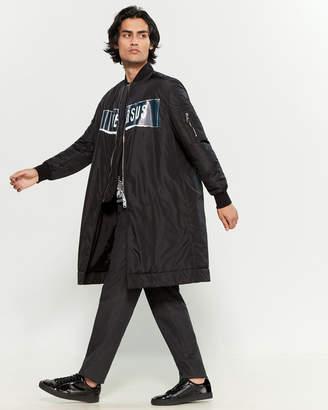 Versace Zayn X Logo Longline Bomber Jacket